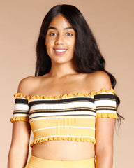 FRILL EDGE CROP TOP MUSTARD