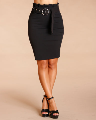 HIGH WAIST PAPERBAG BELTED SKIRT (AVAILABLE IN 2 COLORS)