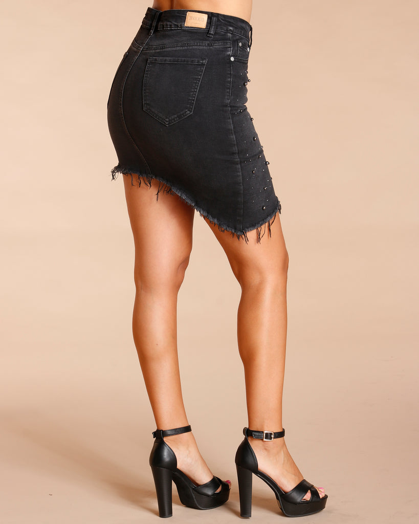 All Over Pearl And Stone Denim Skirt - Black