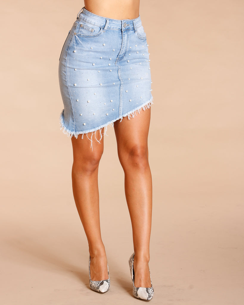 All Over Pearl And Stone Denim Skirt - Light Blue