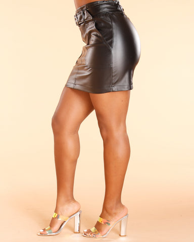 Faux Leather Biker Belted Mini Skirt