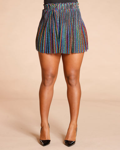 Rainbow Striped Lurex Skirt