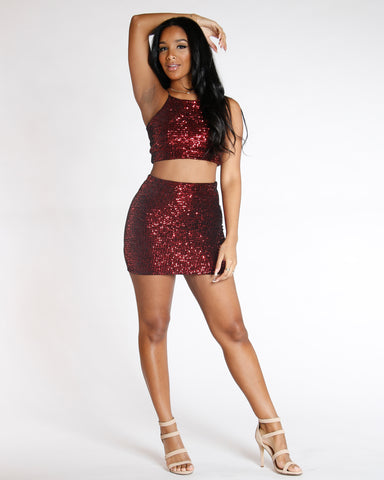 Red Rmvv Sequin Mini Skirt