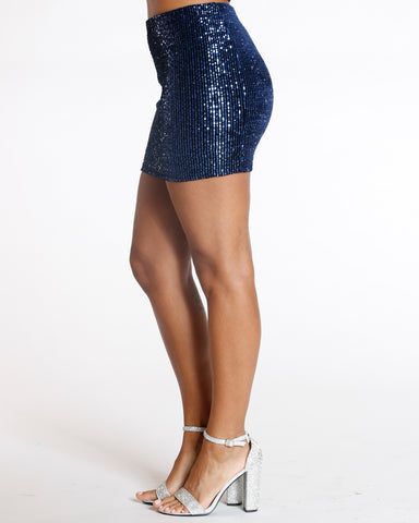 Blue Rmvv Sequin Mini Skirt