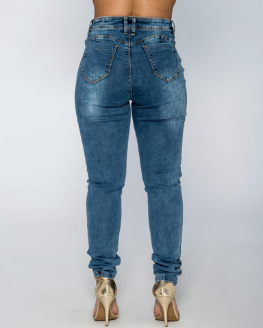 High Waist Ripped Jeans - Acid Wash