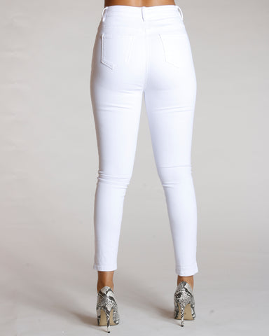 Five Button High Rise Jeans - White