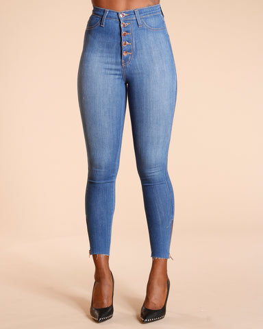 Five Button High Waist Jeans - Medium Blue