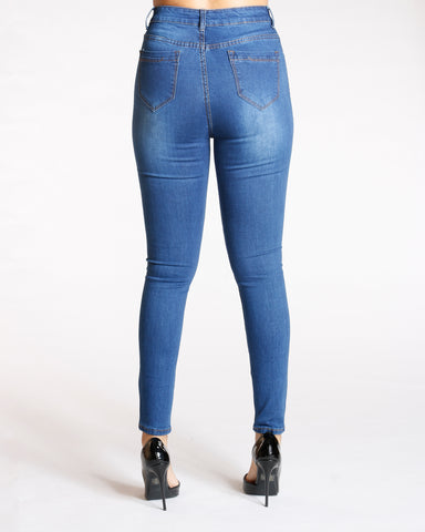 Five Button High Rise Jeans - Dark Blue