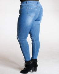 Pearls And Stones Split Knee Jeans