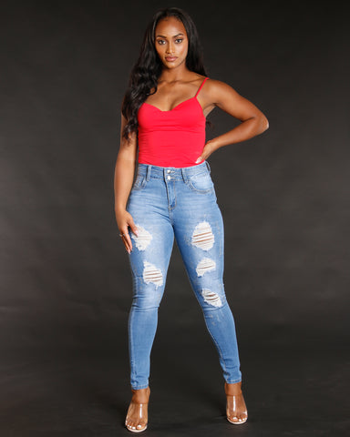 Ripped High Waist Rhinestone Jeans
