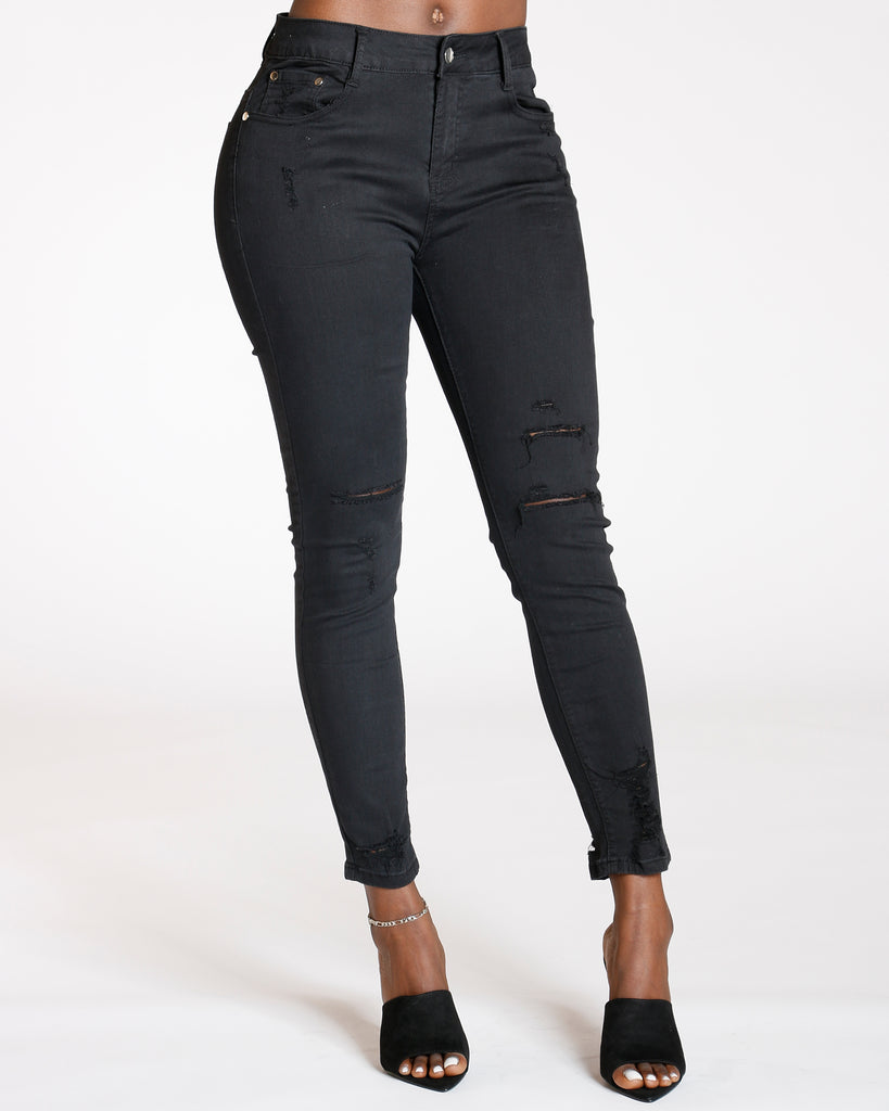 Hip Hop High Waist Ripped Ankle Jeans
