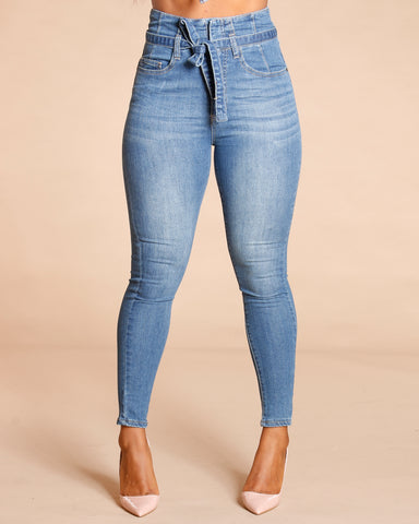 Paperbag High Waist Skinny Jeans