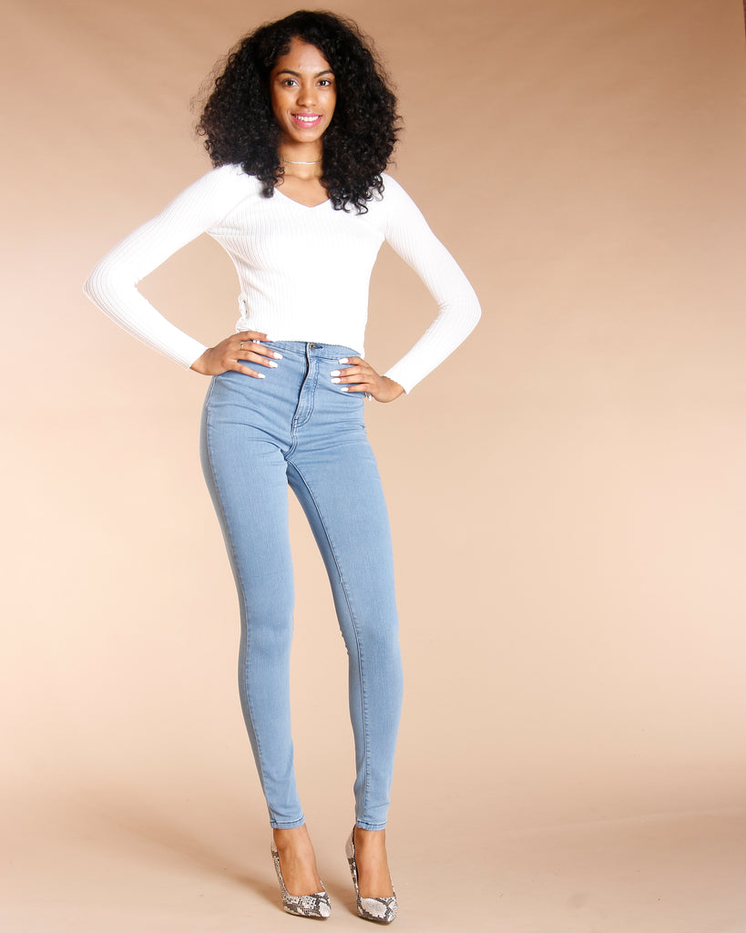 HIGH WAIST JEANS - LIGHT BLUE