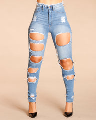 High Waist Shredded Rips Jeans - Medium Blue