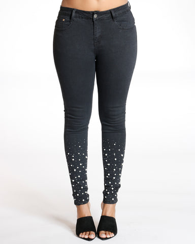 Black High Waist Pearls And Rhinestone Jean