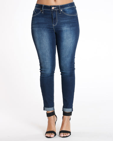Olie Dark Blue Ankle Highrise Luxe Jean