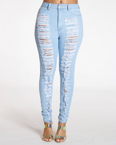 Light Blue Highwaist Heavy Rips Front & Back Jean