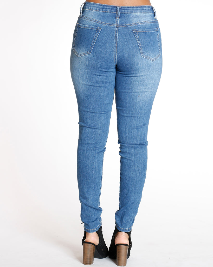 Medium Blue High Waist Rips Skinny Jean