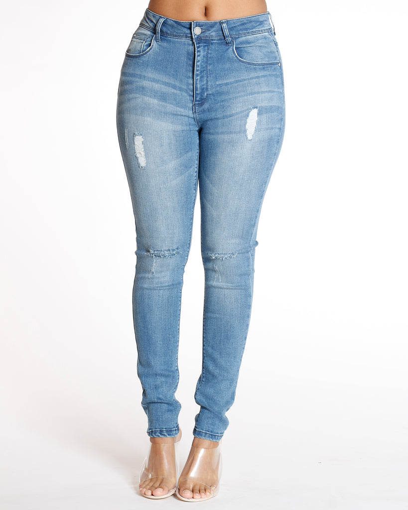 VIM VIXEN High Waist Rips Skinny Jean - Medium Denim - ShopVimVixen.com