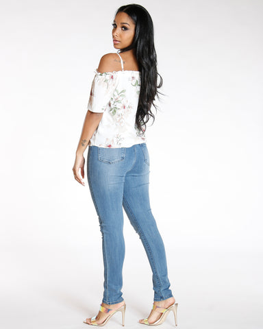 Four Button High Waist Skinny Jean