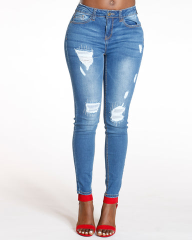 Medium Denim High Waist Ripped Skinny Jean