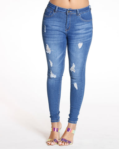 Nicola Medium Denim High Waist Rips Skinny Jean