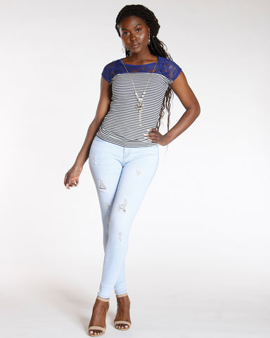 Light Blue High Waist Ripped Skinny Jean