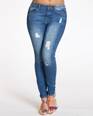 Dark Blue High Waist Rips Skinny Jean