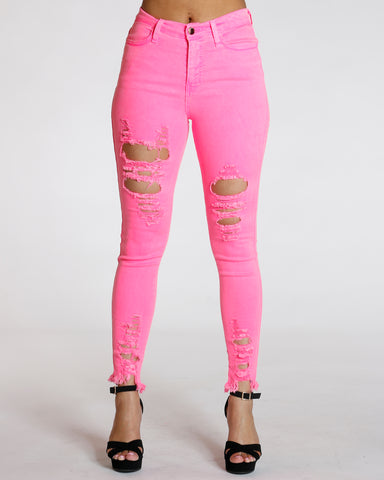 Pink Heavy Rips High Waist Skinny
