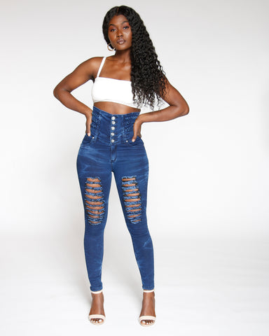 Five Button High Waist Ripped Bleach Look Jean