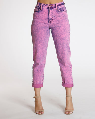 Pink Neon Dyed Mom Jean