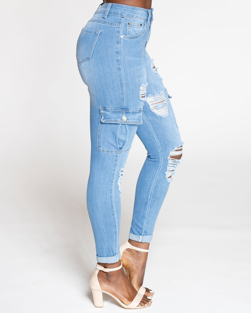 VIM VIXEN Ripped High Waist Cargo Pocket Jean - Light Blue - ShopVimVixen.com