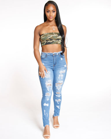 High Waist Heavy Ripped Fray Hem Jean