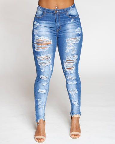 Medium Denim Heavy Ripped & Dog Bite Fray Hem Jean