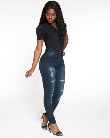 Haylie Highwaist Ripped Jean - Black