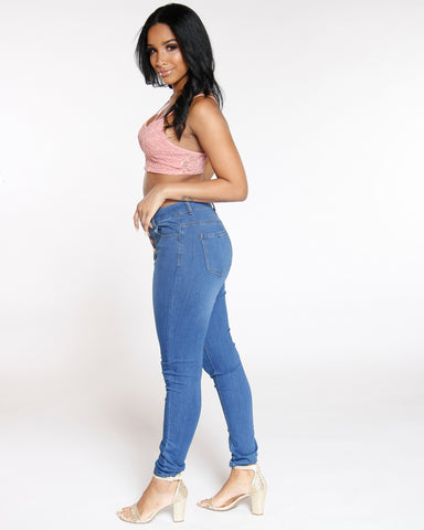 Five Button Classic High Waist Jean