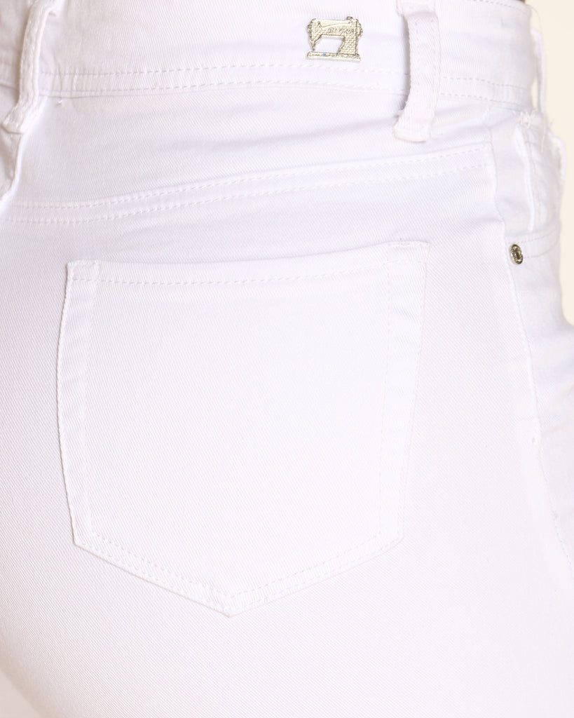 Veronica High Waist Ripped Side Keychain Strap Jean - White