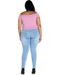 Basic 5 Pockets Stretch With Pu Jeans