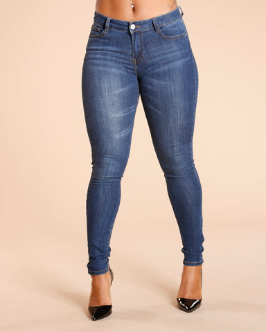 EMBROIDERY POCKET JEANS - ARK BLUE