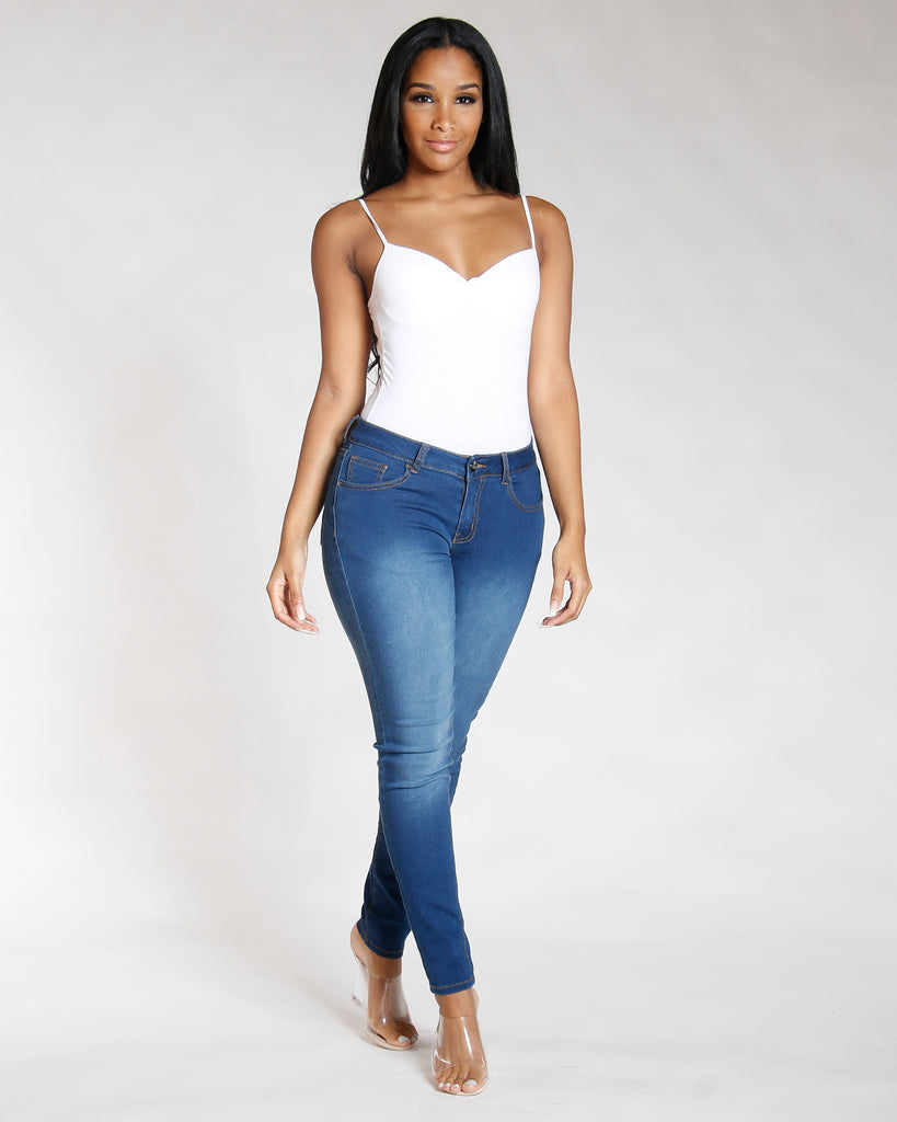REMY MA BY VIM VIXEN Stretch Five Pocket Jean - Medium Blue - ShopVimVixen.com