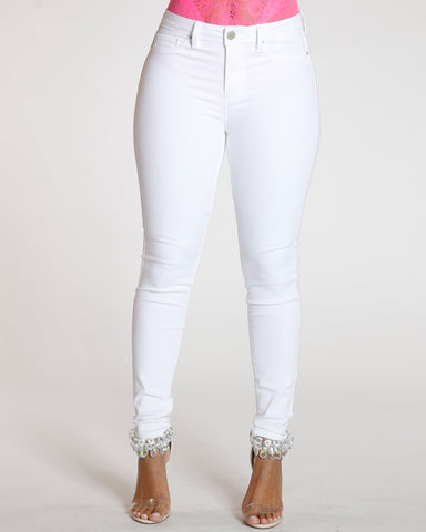 White Mid Rise Jean