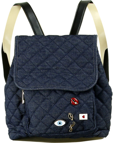 Wo Quilted Backpack With Pins