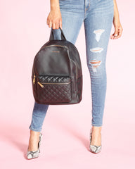 Diamond Quilted Backpack - Black