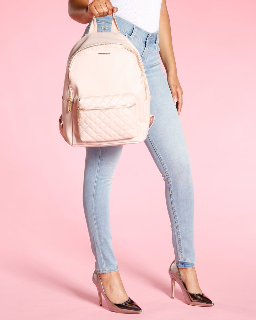 Diamond Quilted Backpack - Blush