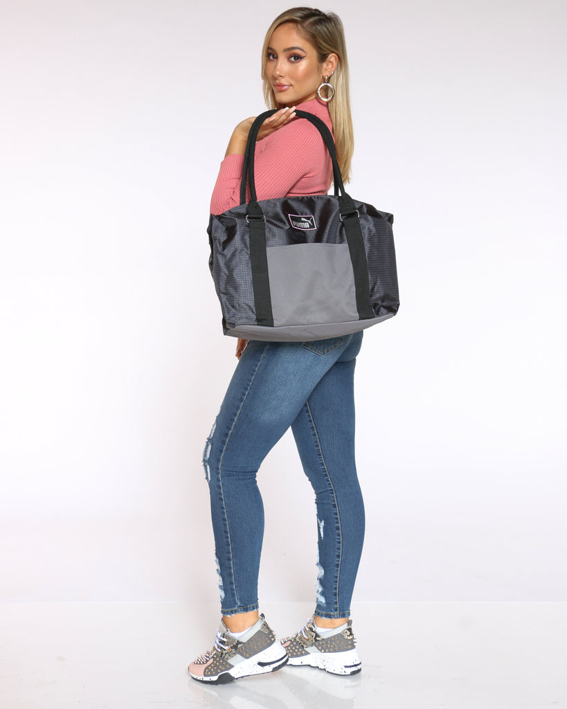 Women's Puma Tote Duffle Bag Grey Vim Vixen