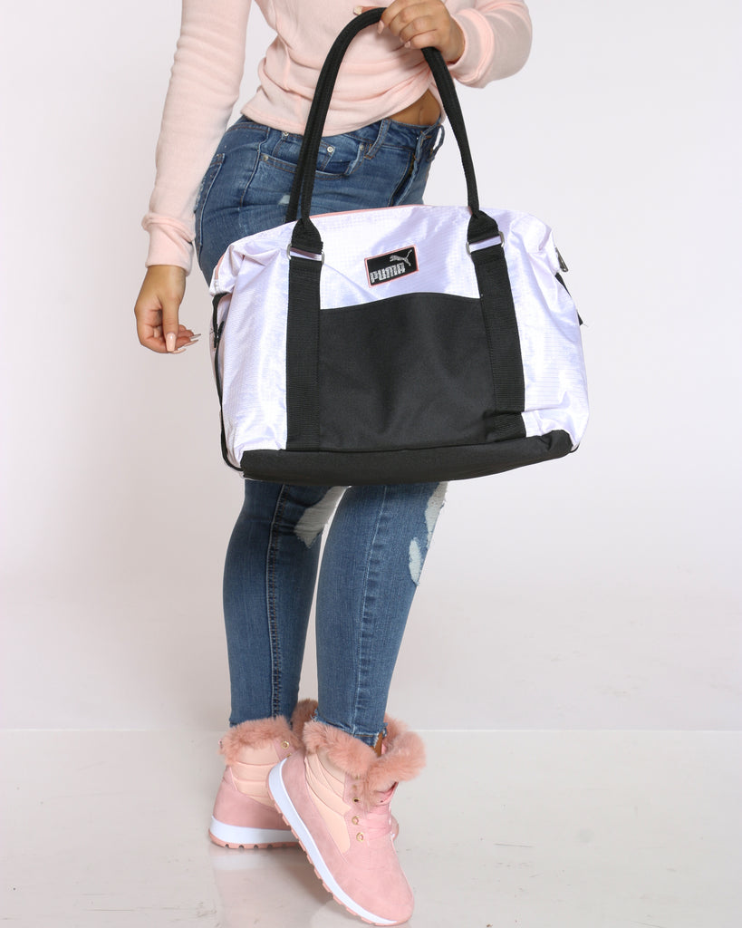 Women's Puma Tote Duffle Bag White Black Vim Vixen
