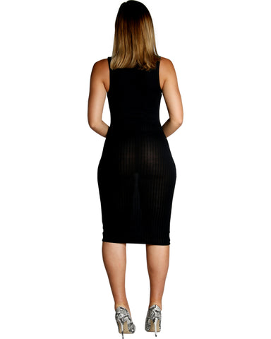 Ribbed Keyhole Dress (Available In 2 Colors)