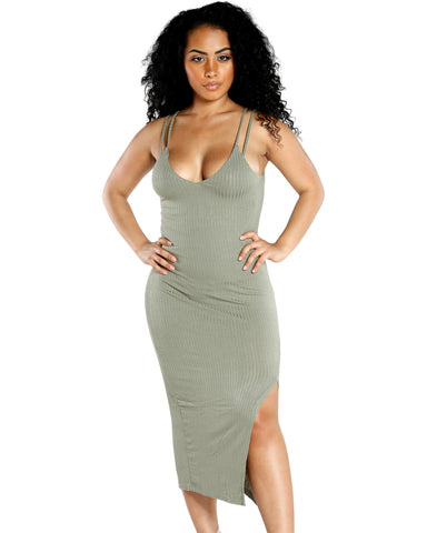 SOLID COLORED RIBBED TANK DRESS WITH KNEE LENGTH SIDE SLIT