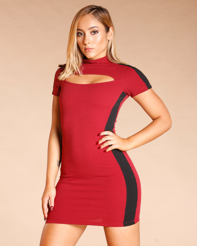 MOCK NECK CUT OUT DRESS (AVAILABLE IN 3 COLORS)