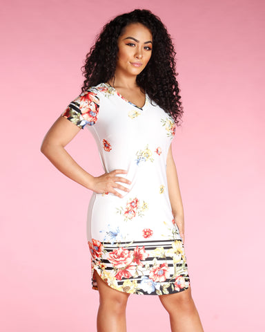 Floral Short Sleeve Dress (Available In 3 Colors)